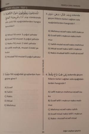 Arapça Dilbilgisi Test Usulü Soru Bankası Sarf